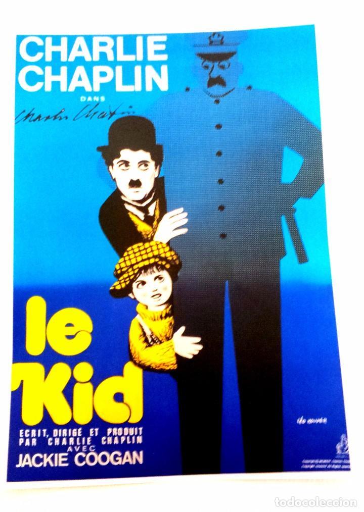 POSTER CHARLIE CHAPLIN 1921 LE KID, CON AUTOGRAFO DEL ACTOR, BONITA REPRODUCCION (Cine - Posters y Carteles - Comedia)
