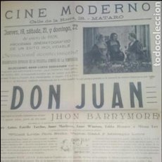 Cine: CARTEL ORIGINAL CINE MODERNO AÑO 1928 DON JUAN. Lote 70955001