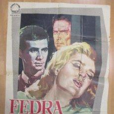 Cine: CARTEL CINE, FEDRA, ANTHONY PERKINS, MELINA MERCOURI, JANO, 1963, C928. Lote 71198481