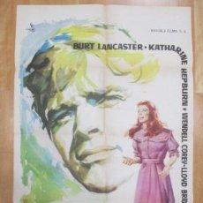 Cine: CARTEL CINE, EL FARSANTE, BURT LANCASTER, KATHARINE HEPBURN, MONTALBAN, 1960, C959. Lote 71433035