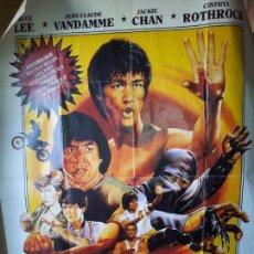 Cine: ENORME CARTEL 1,60 X 1,20 ARTES MARCIALES -BRUCE LEE-JEAN CLAUDE VANDAMME-JACKIE CHAN-ROTHROCK-1990. Lote 71460447