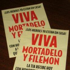 Cine: 2 OCTAVILLAS DE LA ESCENA FINAL DE LA GRAN AVENTURA DE MORTADELO Y FILEMÓN. JAVIER FESSER 2003. Lote 71486087