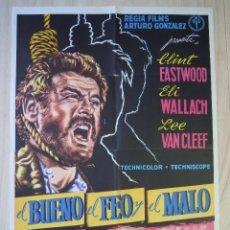 Cine: EL BUENO, EL FEO Y EL MALO - AÑO 1968 - CLINT EASTWOOD - SERGIO LEONE. CARTEL ORIGINAL. 70X100. Lote 287332088
