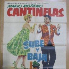 Cine: CARTEL CINE, SUBE Y BAJA, CANTINFLAS, MARIO MORENO, TERESA VELAZQUEZ, 1959, C973. Lote 72279087