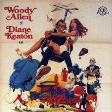 Cine: EL DORMILÓN. WOODY ALLEN. DIANE KEATON. CARTEL ORIGINAL 1974. 100X70. Lote 72315927