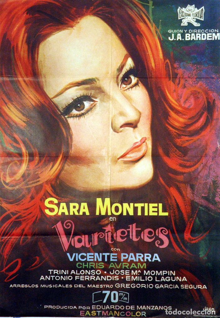VARIETES. SARA MONTIEL - VICENTE PARRA - CARTEL ORIGINAL 1971. 100X70 (Cine - Posters y Carteles - Musicales)