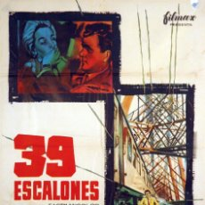 Cine: 39 ESCALONES. CARTEL ORIGINAL 1961. 100X70 CM.. Lote 72348415