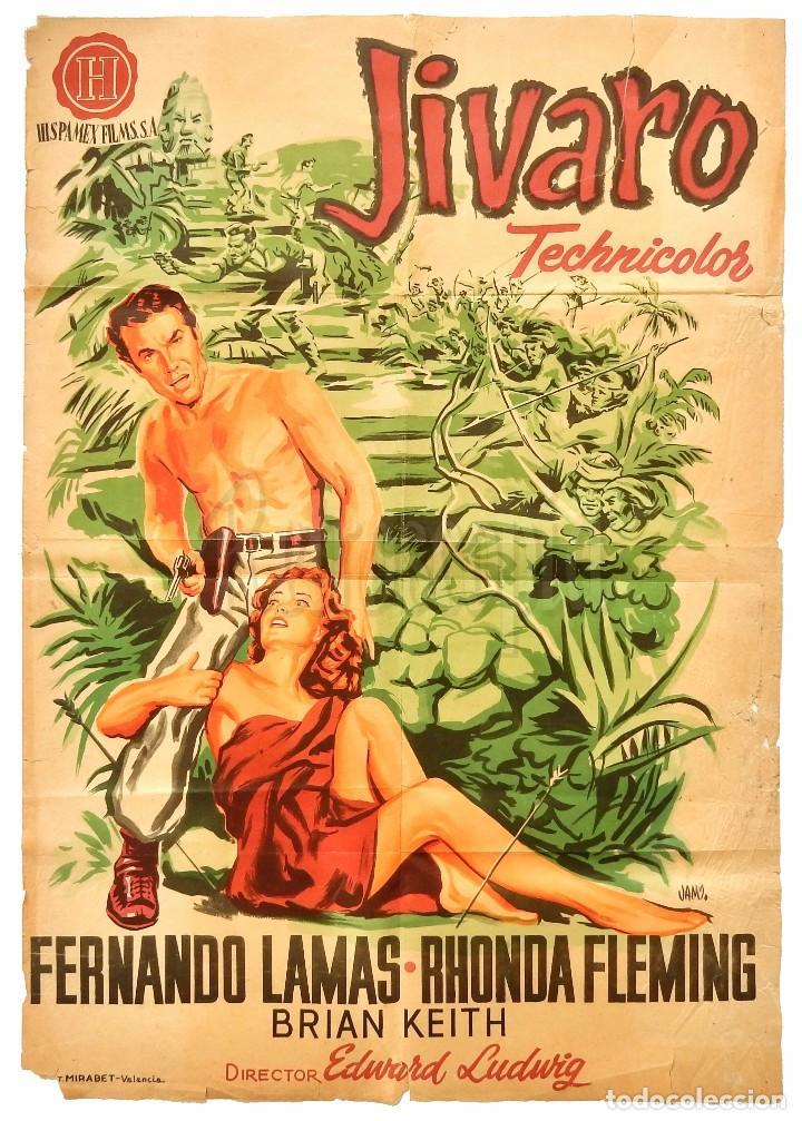 CARTEL POSTER ORIGINAL *JIVARO* FERNANDO LAMAS RHONDA FLEMING. EDWARD LUDWIG - JANO (Cine - Posters y Carteles - Aventura)