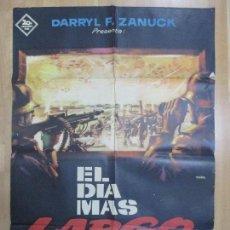 Cine: CARTEL CINE, EL DIA MAS LARGO, DARRYL F. ZANUCH, MAC, 1962, C978. Lote 72908851