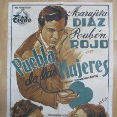 Cine: CARTEL CINE, PUEBLA DE LAS MUJERES, MARUJITA DIAZ, RUBEN ROJO, PERIS ARAGO, LITOGRAFIA, C983. Lote 73023031