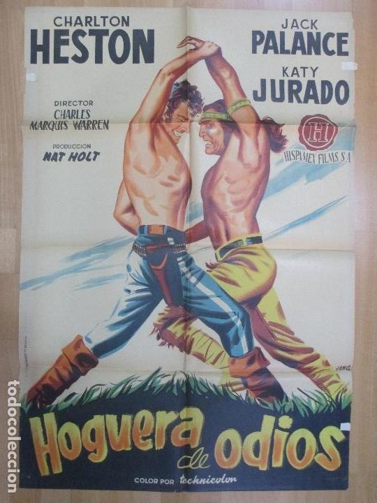 CARTEL CINE, HOGUERA DE ODIOS, CHARLTON HESTON, JACK PALANCE, LITOGRAFIA, JANO, C984 (Cine - Posters y Carteles - Westerns)