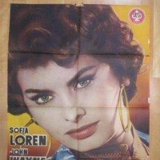 Cine: CARTEL CINE, ARENAS DE MUERTE, SOFIA LOREN, JOHN WAYNE, 1958, C991. Lote 73030599