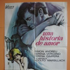 Cine: CARTEL, POSTER CINE - UNA HISTORIA DE AMOR - SIMON ANDREU - SERENA VERGANO -1967 - ORIGINAL.. R-4452. Lote 73142135