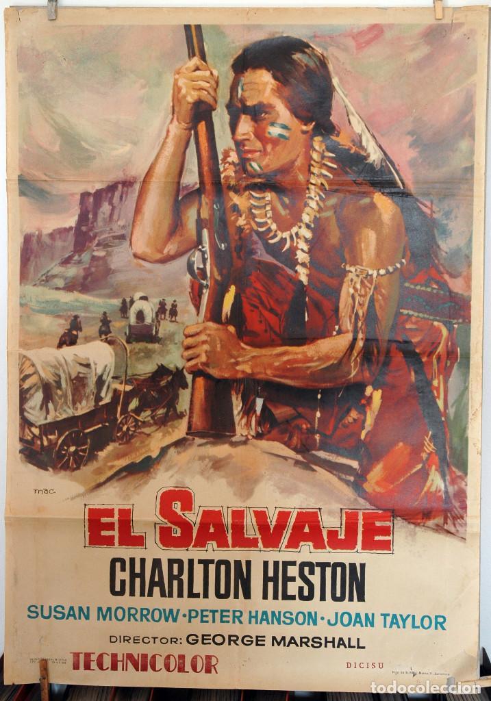 EL SALVAJE. CHARLTON HESTON. CARTEL ORIGINAL 1964. 100X70 (Cine - Posters y Carteles - Westerns)