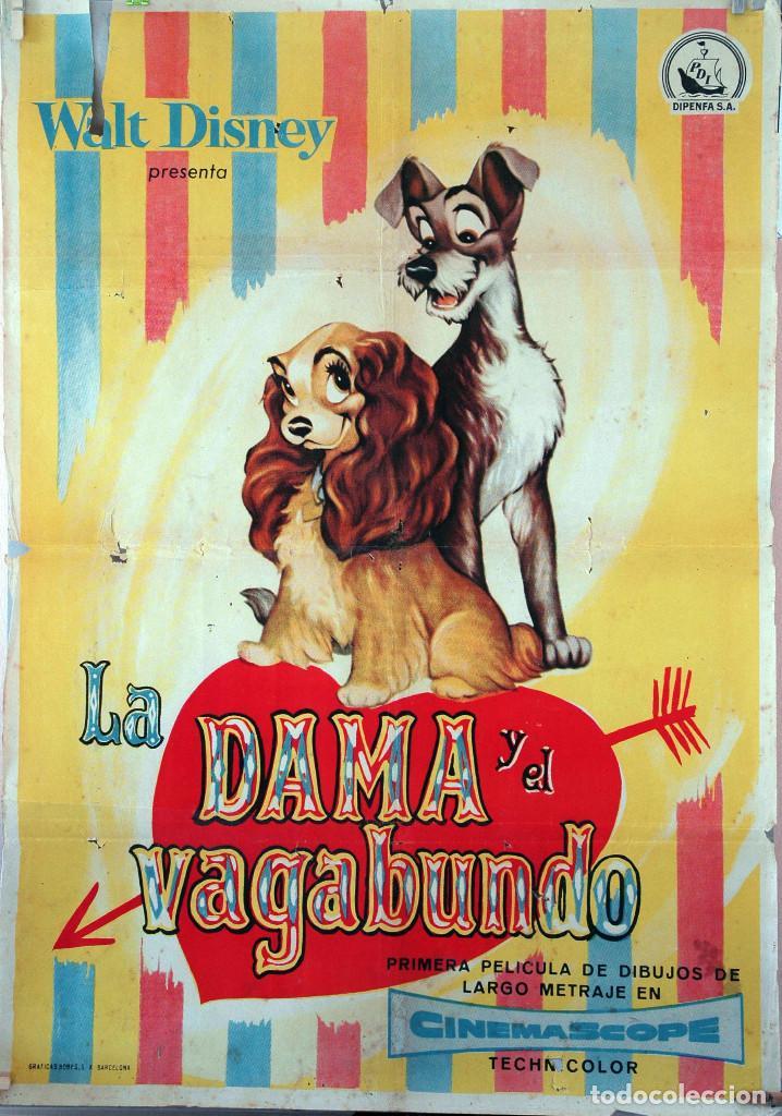 LA DAMA Y EL VAGABUNDO. CARTEL ORIGINAL 1955. 100X70 (Cine - Posters y Carteles - Infantil)