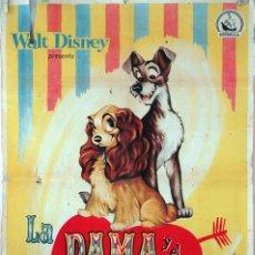 Cine: LA DAMA Y EL VAGABUNDO. CARTEL ORIGINAL 1955. 100X70. Lote 73296739