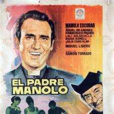 Cine: EL PADRE MANOLO. MANOLO ESCOBAR. CARTEL ORIGINAL 1966. 100X70. Lote 73298043