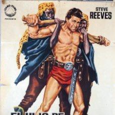 Cine: EL HIJO DE ESPARTACO. STEVE REEVES. CARTEL ORIGINAL DE 1963. 70X100. Lote 73411223