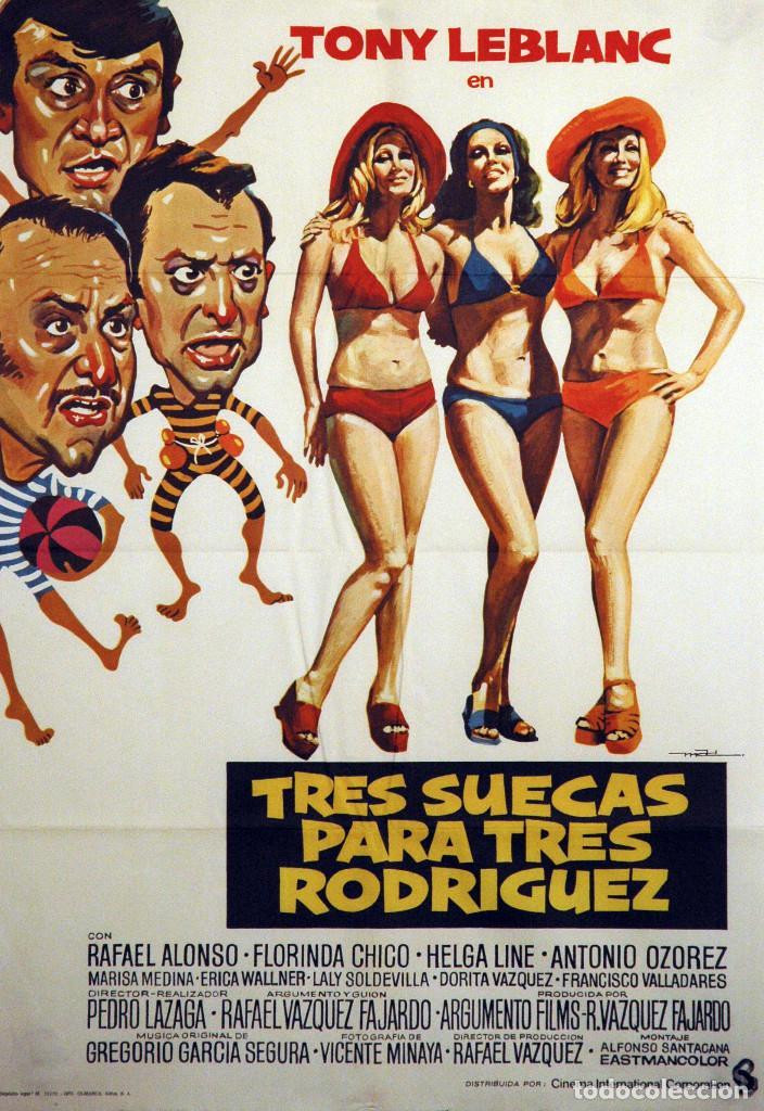 TRES SUECAS PARA TRES RODRÍGUEZ. TONY LEBLANC-ANTONIO OZOREZ. CARTEL ORIGINAL 1975. 70X100 (Cine - Posters y Carteles - Clasico Español)