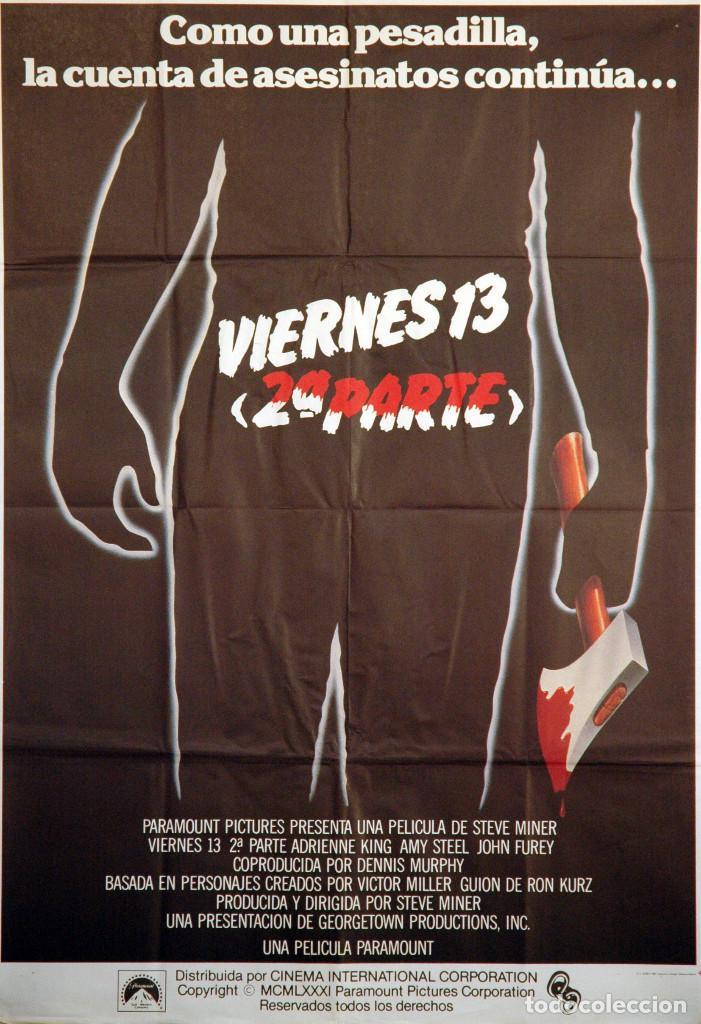 VIERNES 13 2ª PARTE. CARTEL ORIGINAL 1981. 70X100 (Cine - Posters y Carteles - Terror)