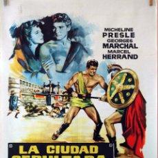 Cine: LA CIUDAD SEPULTADA. CARTEL ORIGINAL 1961. 100X70. Lote 73567803