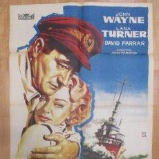 Cine: CARTEL CINE, EL ZORRO DE LOS OCEANOS, JOHN WAYNE, LANA TURNER, MONTALBAN, 1959, C1001. Lote 73655955