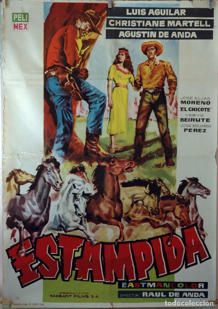 ESTAMPIDA. CARTEL ORIGINAL 1960. 100X70 (Cine - Posters y Carteles - Westerns)