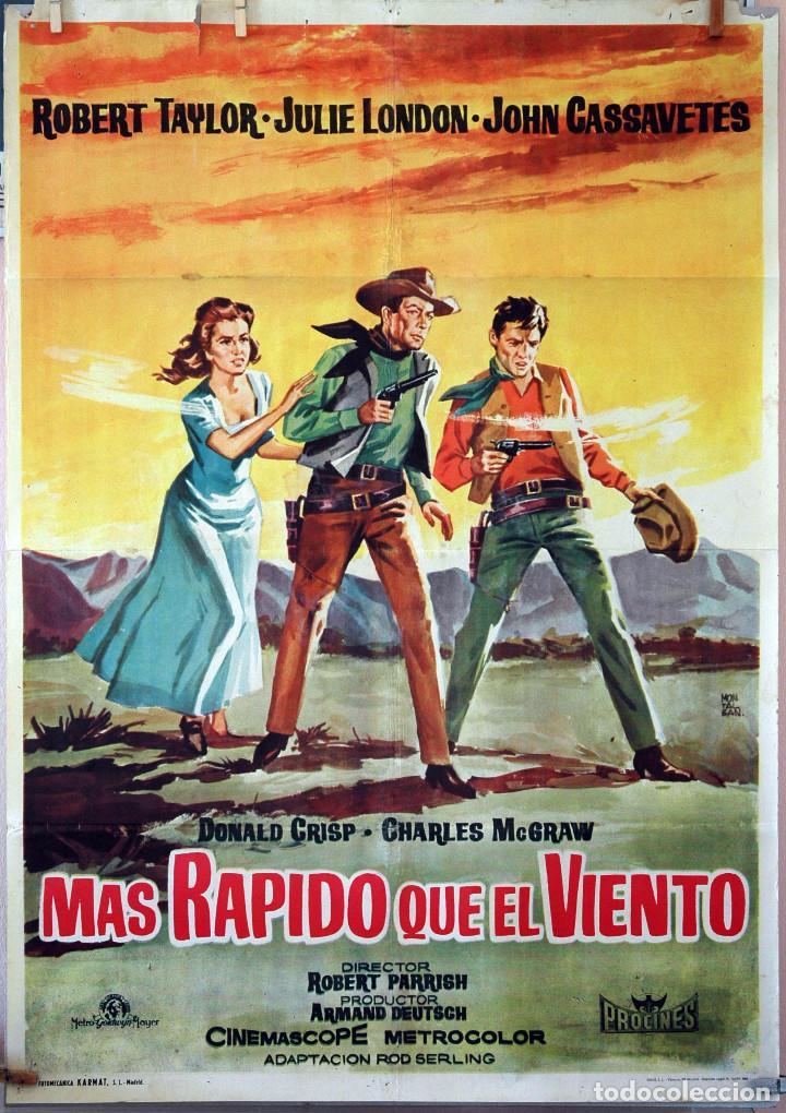 MÁS RÁPIDO QUE EL VIENTO. ROBERT TAYLOR-JOHN CASSAVETES. CARTEL ORIGINAL 1961. 70X100 (Cine - Posters y Carteles - Westerns)