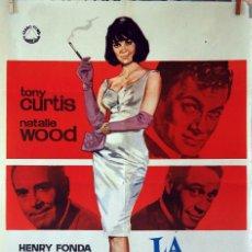 Cine: LA PÍCARA SOLTERA. NATALIE WOOD-HENRY FONDA. CARTEL ORIGINAL 1965. 100X70. Lote 74176195