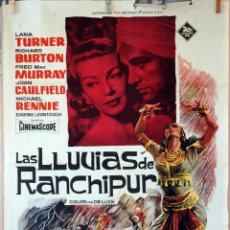 Cine: LAS LLUVIAS DE RANCHIPUR. LANA TURNER-RICHARD BURTON. CARTEL ORIGINAL 1962. 100X70. Lote 74176835