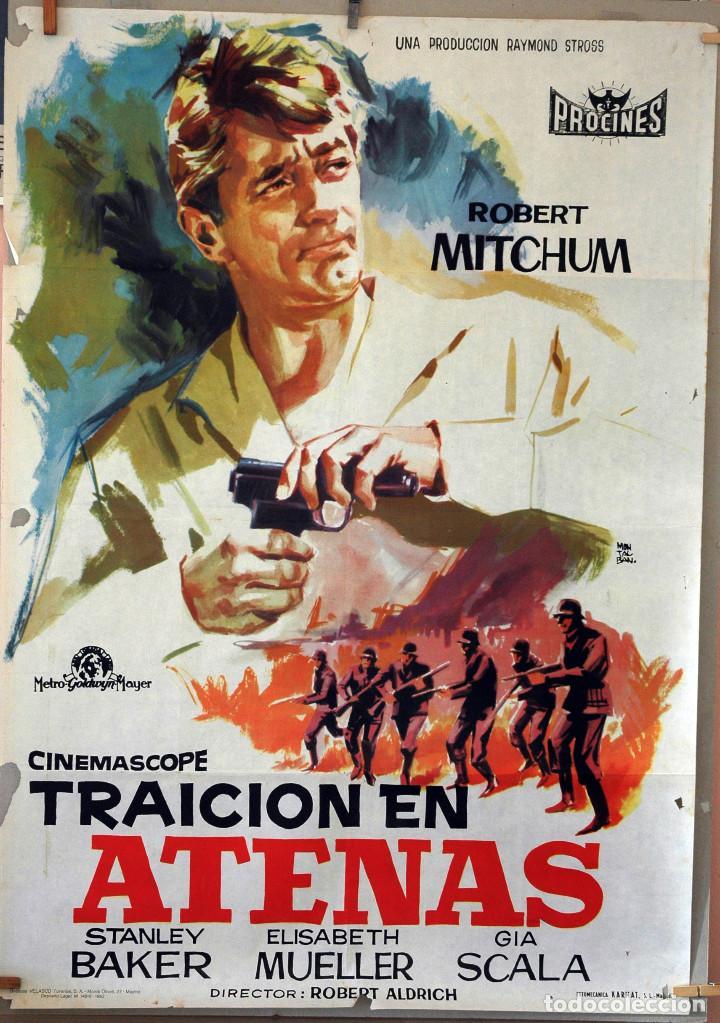 TRAICIÓN EN ATENAS. ROBERT MITCHUM-ROBERT ALDRICH. CARTEL ORIGINAL 1962. 100X70 (Cine - Posters y Carteles - Bélicas)