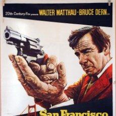 Cine: SAN FRANCISCO, CIUDAD DESNUDA. WALTER MATTHAU-BRUCE DERN. CARTEL ORIGINAL 1974. 100X70. Lote 74184603