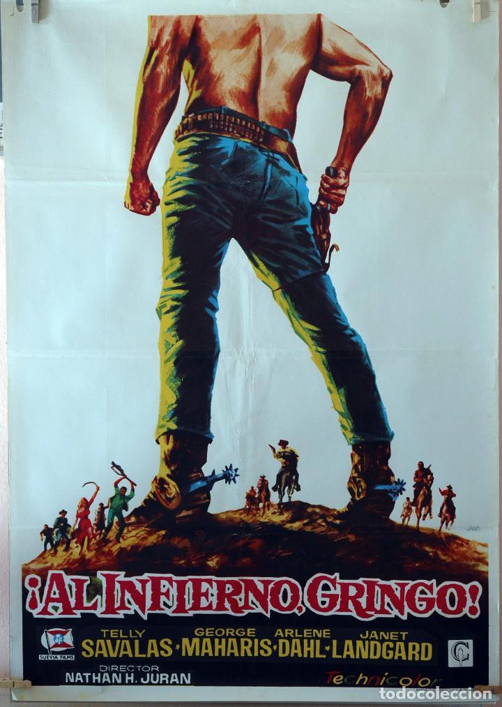 ¡AL INFIERNO GRINGO! TELLY SAVALAS. CARTEL ORIGINAL 1973. 100X70 (Cine - Posters y Carteles - Westerns)