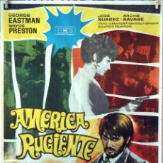 Cine: AMÉRICA RUGIENTE. JOSÉ SUAREZ. CARTEL ORIGINAL 1969. 100X70. Lote 74217459