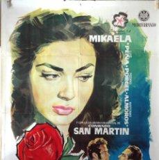 Cine: LA ROSA ROJA. MIKAELA-LUIS PEÑA. CARTEL ORIGINAL 1960. 100X70. Lote 74217791