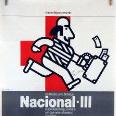 Cine: NACIONAL III. LUIS GARCÍA BERLANGA. CARTEL ORIGINAL 100X70. Lote 74217939