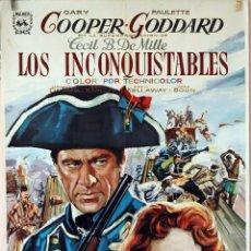 Cine: LOS INCONQUISTABLES. GARY COOPER-PAULETTE GODARD. CARTEL ORIGINAL 1966. 100X70. Lote 74266867