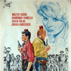 Cine: HÉROES DEL OESTE. STENO CARTEL ORIGINAL 1964. 100X70. Lote 74320863