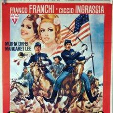 Cine: DOS VIVALES EN FUERTE ÁLAMO. GIORGIO SIMONELLI. CARTEL ORIGINAL 1966. 100X70. Lote 74323395