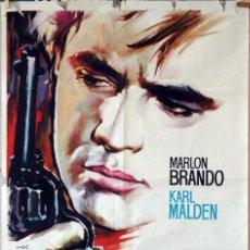 Cine: EL ROSTRO IMPENETRABLE. MARLON BRANDO-KARL MALDEN. CARTEL ORIGINAL 1961. 100X70. Lote 74325843