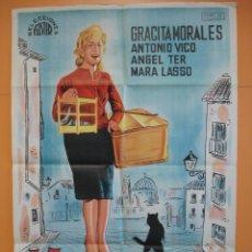 Cine: CARTEL, POSTER CINE - ORIGINAL - LA CHICA DEL GATO - ESPAÑOLA - AÑO 1962... R - 4733. Lote 77488107