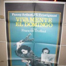 Cinema: VIVAMENTE EL DOMINGO TRUFFAUT FANNY ARDANT POSTER ORIGINAL 70X100 YY (1513). Lote 74694659