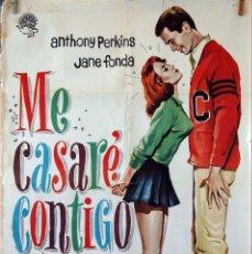 Cine: ME CASARÉ CONTIGO. JANE FONDA-ANTHONY PERKINS. CARTEL ORIGINAL 1964. 100X70. Lote 74708403