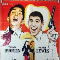 Cine: JUNTOS ANTE EL PELIGRO. JERRY LEWIS-DEAN MARTIN. CARTEL ORIGINAL 1962. 100X70. Lote 74975375