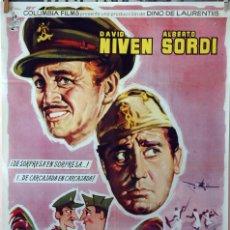 Cine: SU MEJOR ENEMIGO. DAVID NIVEN-ALBERTO SORDI. CARTEL ORIGINAL 1962. 100X70. Lote 75009379