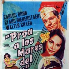Cine: PROA A LOS MARES DEL SUR. CARTEL ORIGINAL 1958. 100X70. Lote 75009851