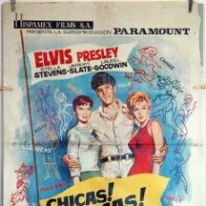 Cine: CHICAS, CHICAS, CHICAS. ELVIS PRESLEY. CARTEL ORIGINAL 1964. 100X70. Lote 75030023