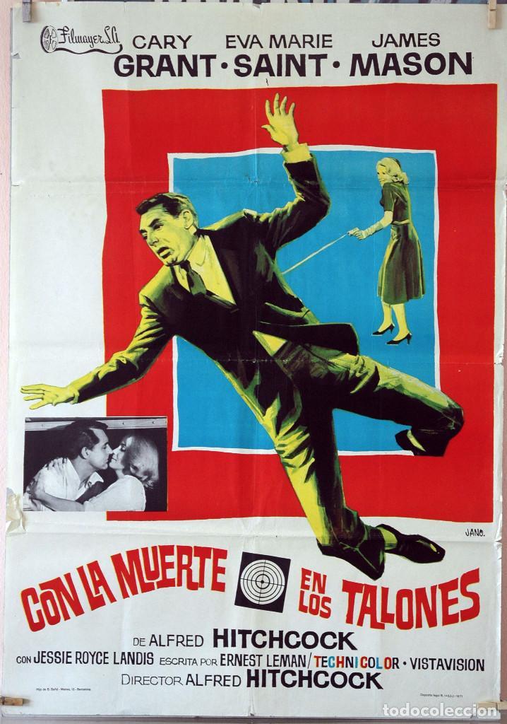 CON LA MUERTE EN LOS TALONES. ALFRED HITCHCOCK-CARY GRANT. CARTEL ORIGINAL 1971. 100X70 (Cine - Posters y Carteles - Suspense)