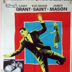 Cine: CON LA MUERTE EN LOS TALONES. ALFRED HITCHCOCK-CARY GRANT. CARTEL ORIGINAL 1971. 100X70. Lote 75031783
