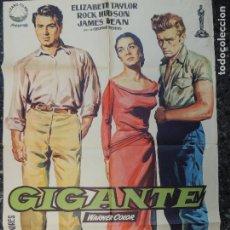 Cine: GIGANTE - POSTER CARTEL ORIGINAL - JAMES DEAN ELIZABETH TAYLOR ROCK HUDSON JAMES DEAN. Lote 75063539